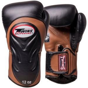 Gants de boxe Twins Premium - BGVL6 Noir/Marron 16 Oz