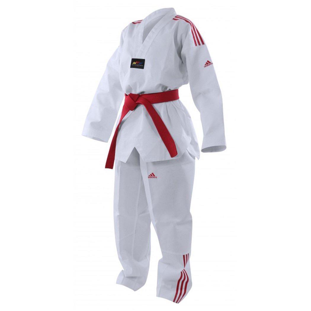 Dobok Taekwondo adidas bandes couleur Bleu 190 cm