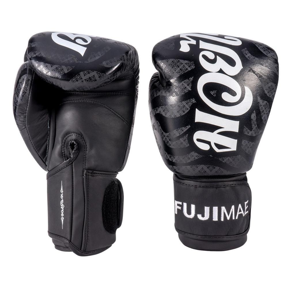 Gant de Boxe Fuji Mae SakYant cuir noir 10 Oz